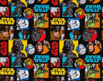 Star Wars Fabric By The Cut | DIY Face Mask | 100% Cotton | Blue | Yellow | Red | White | Black | Fat Quarter | 1/4 Yard | 1 Yard | Disney