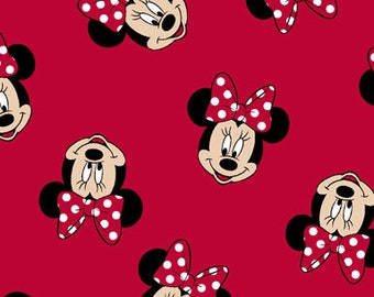 Minnie Mouse Fabric By The Yard | DIY Face Mask | 100% Cotton | Grey | White | Red | Blue | Black | Fat Quarter | 1/4 Yard | 1 Yard | Bows
