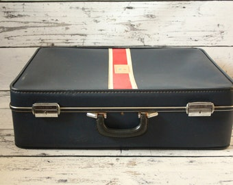 Vintage Invicta Navy Blue Travel Suitcase With Red & White Racing Stripe Soft Luggage Red Fabric Interior and Compartments