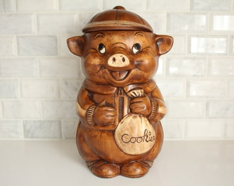 Vintage Pig Cookie Jar by Treasure Craft Made in the USA Brown Painted Pottery Removable Cap Kitchen Decor Snacks