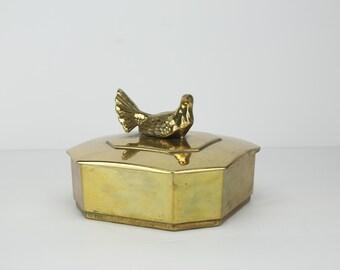 Vintage Brass Trinket Box | Made in Italy | Bird