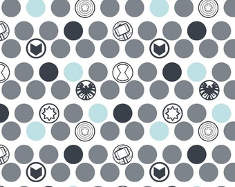 Marvel Kawaii Baby Avengers Logo Fabric By The Cut | DIY Face Mask | 100% Cotton | Fat Quarter | 1/4 Yard | 1/2 Yard | 1 Yard