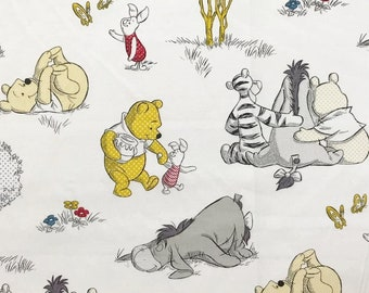 Winnie The Pooh Fabric By The Yard | DIY Face Mask | 100% Cotton | Grey | White | Red | Yellow | Fat Quarter | 1/4 Yard | 1/2 Yard | 1 Yard