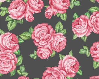 Bohemian Roses Fabric By The Yard | DIY Face Mask | Cotton | Pink | Green | Grey | Fat Quarter | 1/4 Yard | 1/2 Yard | | 3/4 Yard | 1 Yard