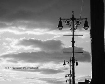 Brooklyn Coney Island Beach Lamp Posts White Clouds In The Sky Photography Black & White Photo Images New York NYC Photograph