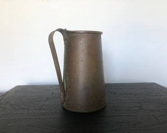 Vintage French Fire Starter | Solid Copper Pitcher With Handle | Patina | Primitive Accessories | Farmhouse Decor | Antique Fireplace Jug
