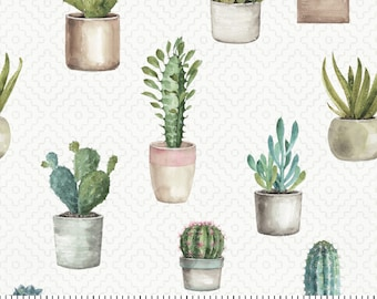 Cactus Geometric Fabric By The Cut | DIY Face Mask | 100% Cotton | Green  | White | Succulents | Fat Quarter | 1/4 Yard | 1/2 Yard | 1 Yard