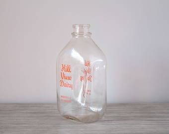 Vintage Hill View Dairy Glass Milk Jug Bottle Clear Bottle Orange Graphics Writing 1/2 Half Gallon Container Providence RI Rhode Island USA