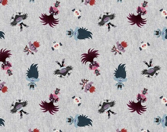 Trolls Movie Fabric By The Yard | DIY Face Mask | 100% Cotton | Grey | White | Red | Fat Quarter | 1/4 Yard | 1/2 Yard | 3/4 Yard | 1 Yard