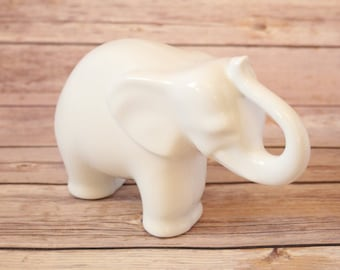 Vintage Naaman Fine Porcelain Elephant Large Sized Figurine Pure White Figure Made In Israel Sculpted Animal Original Design Hand Casted
