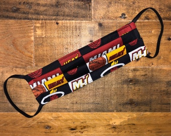 Miami Heat Face Mask | NBA | 100% Cotton | Double Layer | Basketball | Children's Mask | Adult Mask | Yellow | Burgundy | Black | Florida