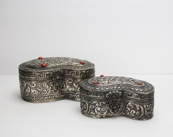 Vintage Pair of Ornate Jewelry Boxes