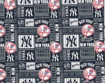 New York Yankees 1903 Fabric By The Yard | Cotton DIY Face Mask | MLB Baseball | Blue | White | Red | Fat Quarter | 1/2 Yard | 1 Yard