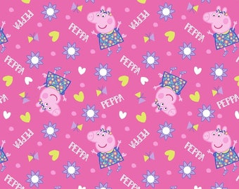 Peppa Pig Fabric By The Yard | DIY Face Mask | 100% Cotton | Pink | Purple | Red | Yellow | White | Fat Quarter | 1/4 Yard | 1 Yard | Hearts