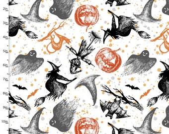 Halloween Fabric By The Cut | Witches | Ghosts | DIY Face Mask | 100% Cotton | Halloween Print | Fat Quarter | 1/4 Yard | 1/2 Yard | 1 Yard