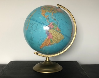 "Vintage Cram's Imperial World Globe Blue Color & Brass Color Metal Base George Cram 12"" Earth Tabletop Rotating Russia Map"
