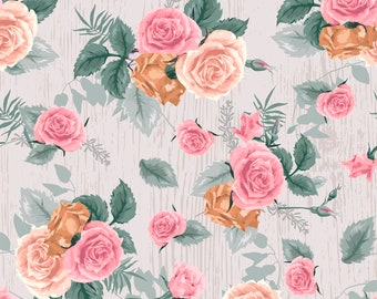 Antique Roses Fabric By The Yard | DIY Face Mask | 100% Cotton | Pink | Green | White | Fat Quarter | 1/4 Yard | 1/2 Yard | | 3/4 Yard