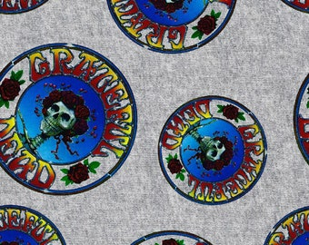 Grateful Dead Fabric By The Yard | DIY Face Mask | 100% Cotton | Grey | Yellow | Red | Blue | Black | Fat Quarter | 1/4 Yard | 1 Yard