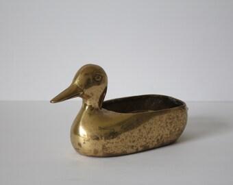 Vintage Solid Brass Duck Planter