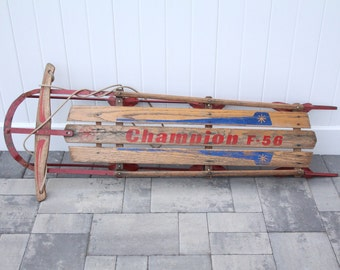Vintage Wood Snow Sled Champion F-56 Children's Toy Red Metal Rope Handle Steering Red & Blue Painted Graphics F56 Wooden