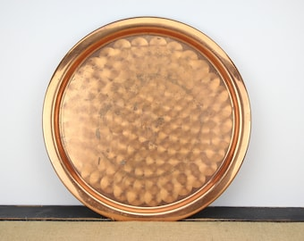 Vintage Copper Serving Tray Swirl Design Bar Drink Server Metal Charger Dish Shiny Solid Copper Round Platter Serveware Oxidized Tableware