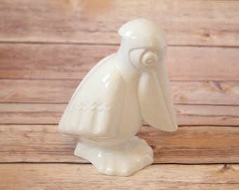 Vintage Naaman Fine Porcelain Pelican Figurine Pure White Figure Made In Israel Beautifully Sculpted Animal Original Design Hand Casted