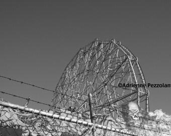Brooklyn Wonder Wheel Photography Coney Island Beach Ferris Wheel Photo Black & White Image New York City Photograph NYC