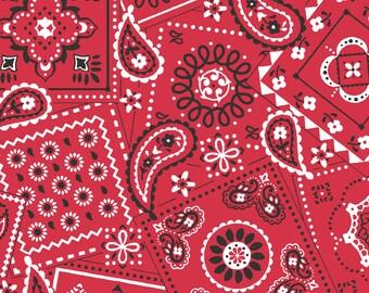 Red Bandana Fabric By The Cut | 100% Cotton | DIY Face Mask | White | Black | Poppy | Fat Quarter | 1/4 Yard | 1/2 Yard | 1 Yard