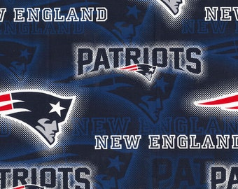 New England Patriots Dot Fabric By The Cut | DIY Face Mask | Cotton | NFL Football | Blue | White | Red | Fat Quarter | 1/2 Yard | 1 Yard