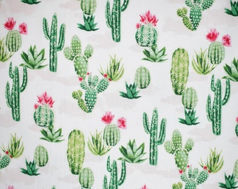 Flowering Cacti Fabric By The Cut | DIY Face Mask | 100% Cotton | Green  | White | Succulents | Fat Quarter | 1/4 Yard | 1/2 Yard | 1 Yard