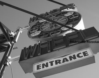 Brooklyn Wonder Wheel Entrance Photography Coney Island Beach Ferris Wheel Photo Black & White Images New York NYC Photograph