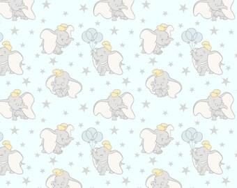 Dumbo Baby Stars Fabric By The Yard | DIY Face Mask | 100% Cotton | Grey | Yellow | Blue | Fat Quarter | 1/4 Yard | 1/2 Yard | 1 Yard