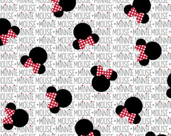 Minnie Mouse Fabric By The Yard | DIY Face Mask | 100% Cotton | Grey | White | Red | Black | Fat Quarter | 1/4 Yard | 1/2 Yard | 3/4 Yard