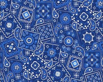 Blue Bandana Fabric By The Cut | 100% Cotton | DIY Face Mask | White | Dark Ink | Fat Quarter | 1/4 Yard | 1/2 Yard | 1 Yard