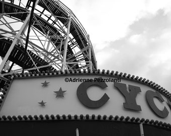 Brooklyn Cyclone Coney Island Beach Photography Black & White Photo Images New York NYC Photograph