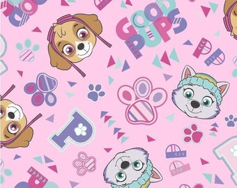 Nickelodeon Paw Patrol Fabric By The Cut | DIY Face Mask | 100% Cotton | Pink | Purple | Spin Master | Fat Quarter | 1/4 Yard | 1 Yard