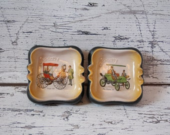 Vintage Auto Rally Set of 2 Ashtrays or Trinket Dishes Ceramic Duryea 1893 Car Scene & Pope-Waverley 1907 Black Exterior Beige Interior