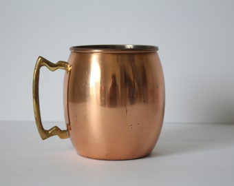 Vintage Solid Copper Moscow Mule Cup | Brass Handle