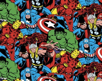 Marvel Avengers Comic Pack Fabric By The Cut | DIY Face Mask | Cotton | Hulk | Spider-Man | Thor | Captain America | Fat Quarter | 1 Yard