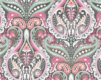 Damask Fabric By The Yard | DIY Face Mask | 100% Cotton | White  | Grey | Green | Pink | Orange | Fat Quarter | 1/4 Yard | 1/2 Yard | 1 Yard
