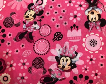 Minnie Mouse Modern Face Mask | 100% Cotton | Double Layer | Children's Mask | Adult Mask | Disney Print | Pink | Flowers | Disney