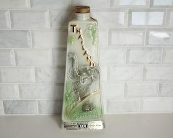 Vintage James Jim Beam Decanter Bottle Thailand Map Green & Blue Original Cork Stopper Barware Serveware Elephant Kentucky Straight Bourbon