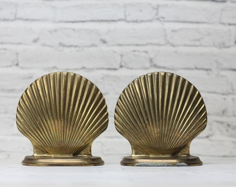 Vintage Pair Brass Scallop Shell Bookends | Nautical | Mid-Century Patina | Tropical | Beach | Tiki | Coastal | Bookshelf Decor | Library