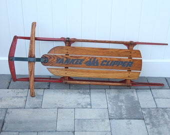 Vintage Yankee Clipper Flexible Flyer Wood Snow Sled Model 11 Children's Toy Red Metal Base Wooden Handle Steering Blue Painted Graphics