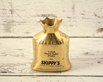 Vintage Brass Skippy Peanut Butter Bank Decorative Money Coin Dollar Piggy Bank Advertising Paperweight Cast Display Unlock Profits Program