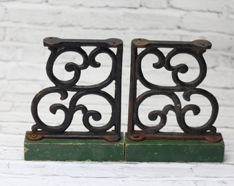 Vintage Pair of Wrought Iron & Wood Decorative Pieces | Green Bookends | Shelf Brackets | Aged Patina | Book Decor | Vintage Home Decor