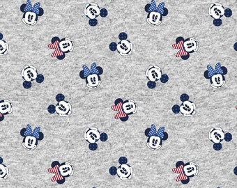Mickey & Minnie Mouse Fabric By The Yard | DIY Face Mask | 100% Cotton | Grey | White | Red | Blue | Black | Fat Quarter | 1/4 Yard | 1 Yard