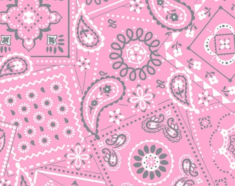 Pink Bandana Fabric By The Cut | DIY Face Mask | 100% Cotton | White | Carnation | Fat Quarter | 1/4 Yard | 1/2 Yard | 1 Yard