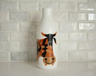 RARE Kenneth Townsend White Glass Cow Milk Bottle Italian Egizia Vintage Retro Black Brown Orange Painted Menagerie Animal UK United Kingdom