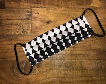 Harlequin Face Mask | Diamond Pattern | Theater | Mine  | 100% Cotton | Double Layer | Children's Mask | Adult Mask | Black | White